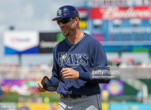 Rocco Baldelli of the Tampa Bay Rays looks on against the Minnesota Twins on March 11 2015 at the CenturyLink Sports Complex in Fort Myers Florida