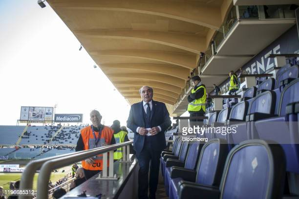 Rocco Commisso chief executive officer and founder of Mediacom Communications Corp prepares for the ACF Fiorentina v SPAL Italian Serie A soccer...