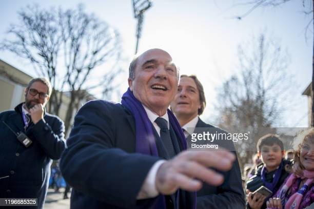 Rocco Commisso chief executive officer and founder of Mediacom Communications Corp greets fans shortly before the ACF Fiorentina v SPAL Italian Serie...