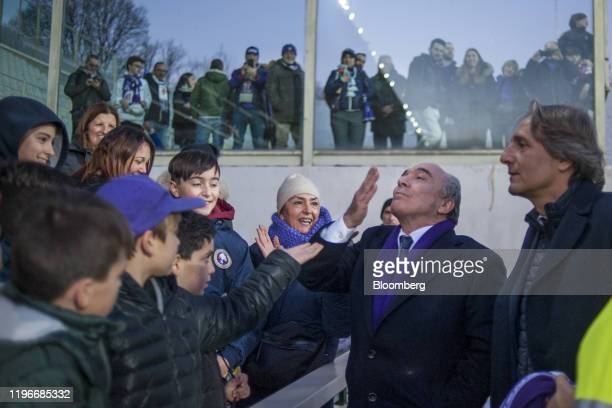 Rocco Commisso chief executive officer and founder of Mediacom Communications Corp greets fans on the soccer pitch after ACF Fiorentina v SPAL...