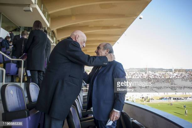 Rocco Commisso chief executive officer and founder of Mediacom Communications Corp right greets fans shortly before ACF Fiorentina v SPAL Italian...