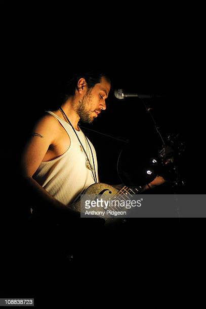 Rocco Deluca performs on stage at Aladdin Theater on February 3 2011 in Portland Oregon