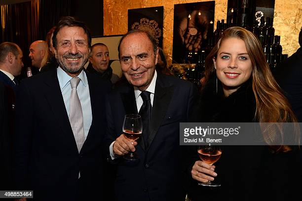 Rocco Forte Bruno Vespa and Lydia Forte attend the Vespa wine presentation hosted by Angelo Galasso and Dylan Jones at the Baglioni Hotel on November...