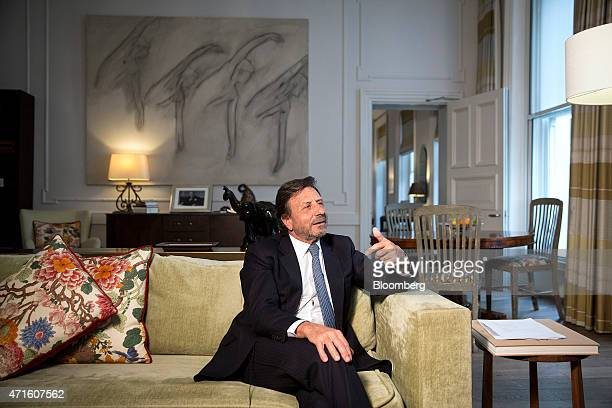 Rocco Forte founder of the Rocco Forte Collection gestures as he speaks during a Bloomberg Television interview at Brown's Hotel Forte's luxury...
