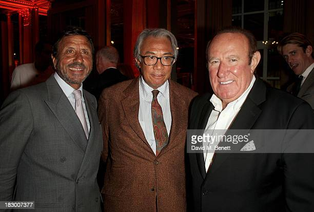 Rocco Forte Sir David Tang and Andrew Neil attend the launch of Geordie Greig's new book Breakfast With Lucian on October 3 2013 in London England