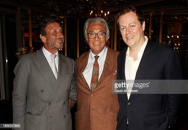 Rocco Forte Sir David Tang and Tom Parker Bowles attend the launch of Geordie Greig's new book Breakfast With Lucian on October 3 2013 in London...