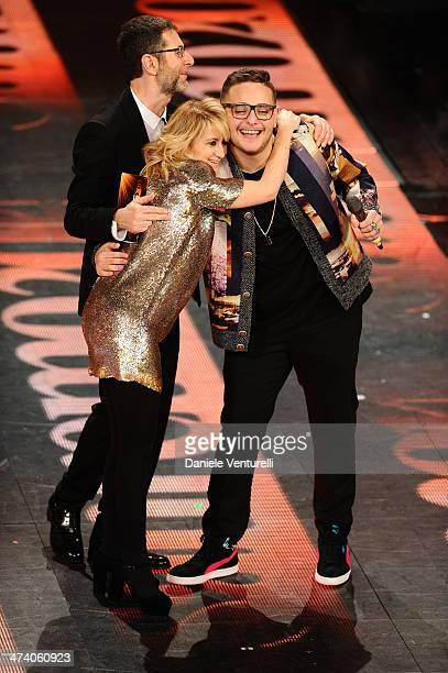 Rocco Hunt Luciana Littizzetto and Fabio Fazio attend fourth night of the 64th Festival di Sanremo 2014 at Teatro Ariston on February 21 2014 in...