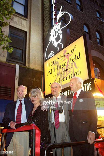 Rocco Landesman Louise Kerz Hirschfeld Arthur Gelb and James Binger attend the 100 Years Of Al Hirschfeld A Celebration memorial and theater renaming...