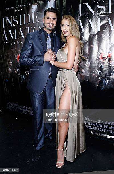 Rocco Leo Gaglioti and Carmen Carrera attends 'Inside Amato' New York premiere at Liberty Theater on September 16 2015 in New York City