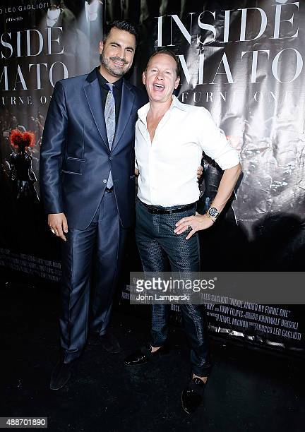 Rocco Leo Gaglioti and Carson Kressley attend 'Inside Amato' New York premiere at Liberty Theater on September 16 2015 in New York City