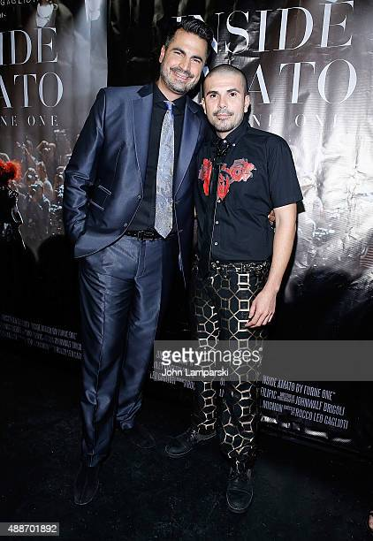 Rocco Leo Gaglioti and Erik Rosete attends 'Inside Amato' New York premiere at Liberty Theater on September 16 2015 in New York City