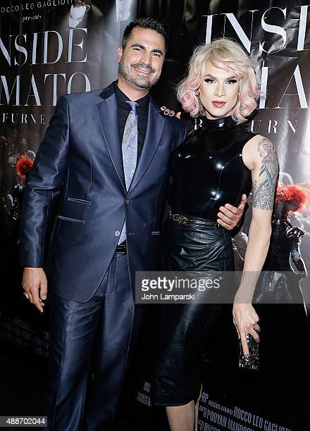 Rocco Leo Gaglioti and Miss Fame attend 'Inside Amato' New York premiere at Liberty Theater on September 16 2015 in New York City