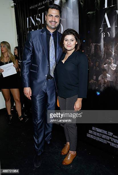 Rocco Leo Gaglioti and President of Style Rida Khan attend 'Inside Amato' New York premiere at Liberty Theater on September 16 2015 in New York City