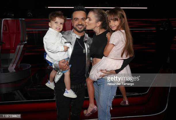 Rocco Luis Fonsi Agueda Lopez and Mikaela are seen during Telemundo's La Voz competition at Cisneros Studios on April 14 2019 in Miami Florida