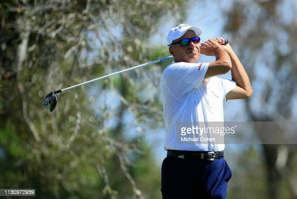 Rocco Mediate hits a drive during the first round of the Chubb Classic held at The Classics at Lely Resort on February 15 2019 in Naples Florida