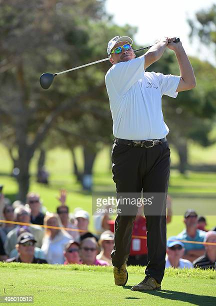 Rocco Mediate hits a drive on the second hole during the first round of the Champions Tour Toshiba Classic at Newport Beach Country Club on October...