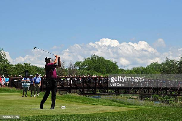 Rocco Mediate hits his shot on the third hole during the final round of the 2016 Senior PGA Championship presented by KitchenAid at the Golf Club at...