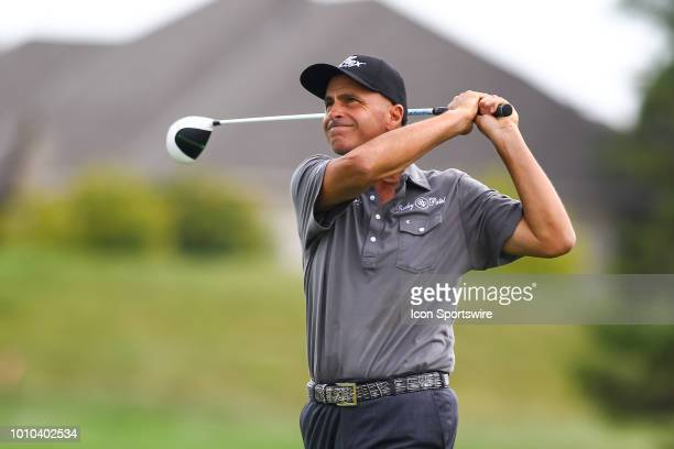 Rocco Mediate hits his tee shot on the first hole during the first round of the 3M Championship on August 3 2018 at TPC Twin Cities in Blaine...