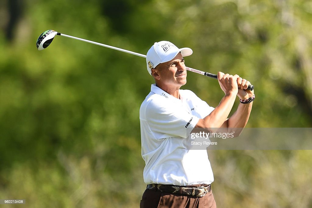 Rocco Mediate hits his tee shot on the seventh hole during the first round of the Senior PGA Championship presented by KitchenAid at the Golf Club at Harbor Shores on May 24, 2018 in Benton Harbor, Michigan.