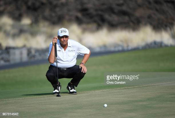 KA'UPULEHUKONA HI JANUARY 19 Rocco Mediate lines up a putt on the 13th hole during the second round of the PGA TOUR Champions Mitsubishi Electric...