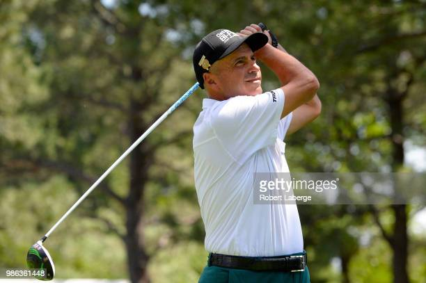 Rocco Mediate makes a tee shot on the 11th hole during round one of the US Senior Open Championship at The Broadmoor Golf Club on June 28 2018 in...