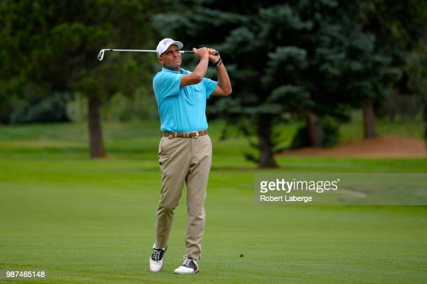 Rocco Mediate makes an approach shot on the 17th hole during round two of the US Senior Open Championship at The Broadmoor Golf Club on June 29 2018...