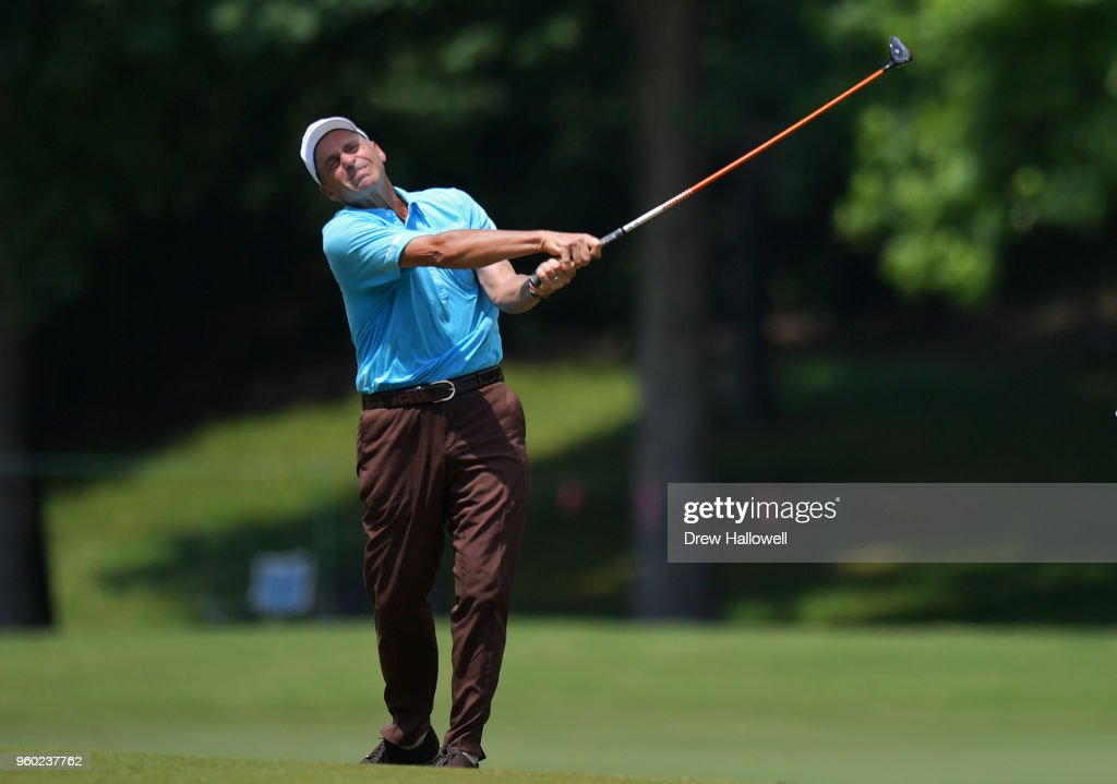 Rocco Mediate of the United States plays a shot on the 18th hole during the third round of the Regions Tradition at Greystone Golf & Country Club on May 19, 2018 in Birmingham, Alabama.
