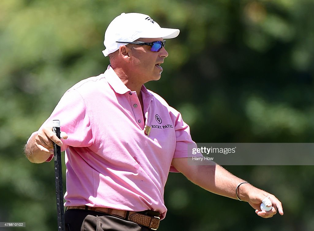 Rocco Mediate of the United States reacts after his putt on the eighth green during round three of the U.S. Senior Open Championship at the Del Paso Country Club on June 27, 2015 in Sacramento, California.