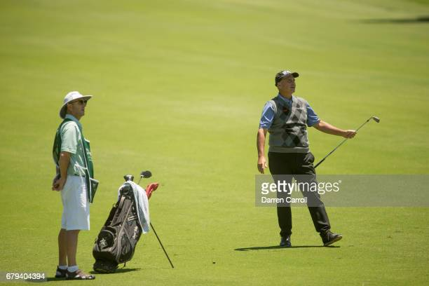 Rocco Mediate of the United States reacts to his second shot at the eleventh hole during the first round of the PGA TOUR Champions Insperity...