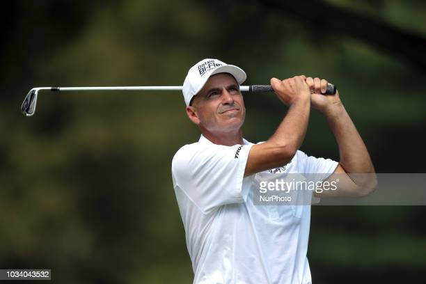 Rocco Mediate of the USA tees off on the 11th tee during the second round of The Ally Challenge presented by McLaren at Warwick Hills Golf amp...