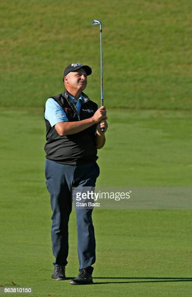 Rocco Mediate plays a shot on the ninth hole during the first round of the PGA TOUR Champions Dominion Energy Charity Classic at The Country Club of...
