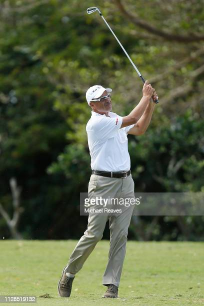 Rocco Mediate plays his second shot on the second hole during the second round of the Oasis Championship at The Old Course at Broken Sound on...