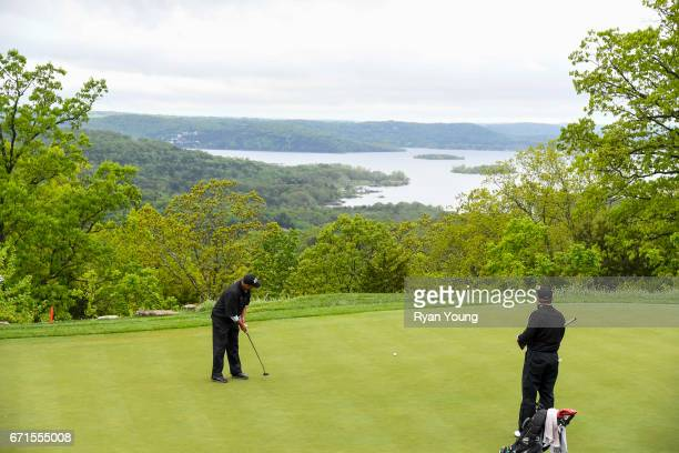 Rocco Mediate putts on the third hole during the first round of the PGA TOUR Champions Bass Pro Shops Legends of Golf at Big Cedar Lodge at Top of...