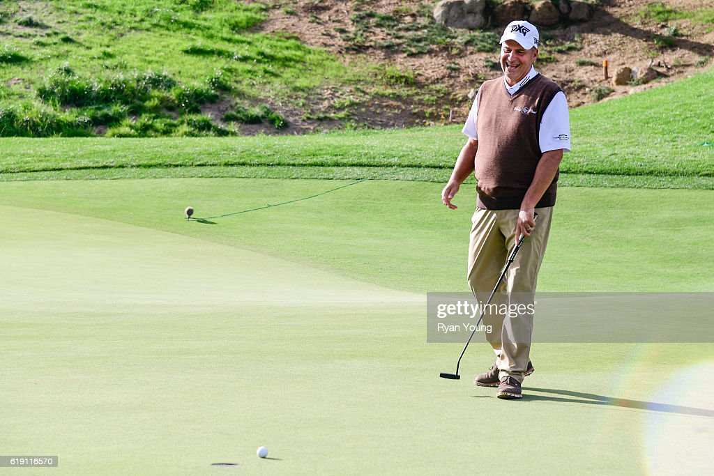 Rocco Mediate reacts to a putt on the 18th hole during the second round for the PGA TOUR Champions PowerShares QQQ Championship at Sherwood Country Club on October 29, 2016 in Thousand Oaks, California.