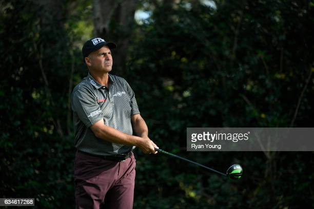 Rocco Mediate tees off on the 18th hole during the first round of the PGA TOUR Champions Allianz Championship at The Old Course at Broken Sound on...