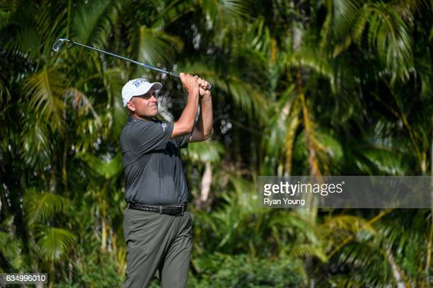 Rocco Mediate tees off on the third hole during the final round of the PGA TOUR Champions Allianz Championship at The Old Course at Broken Sound on...