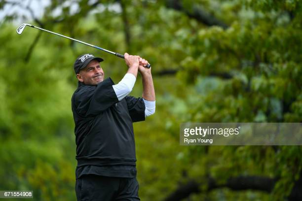 Rocco Mediate tees off on the third hole during the first round of the PGA TOUR Champions Bass Pro Shops Legends of Golf at Big Cedar Lodge at Top of...
