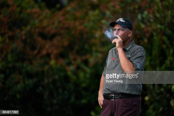 Rocco Mediate waits to tee off on the 16th hole during the first round of the PGA TOUR Champions Allianz Championship at The Old Course at Broken...