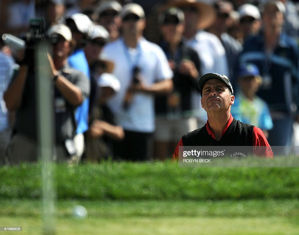Rocco Mediate watches as his shot out of bunker on the first hole, in his playoff against Tiger Woods, at the 108th U.S. Open golf tournament at Torrey Pines Golf Course in San Diego, California on June 16, 2008.