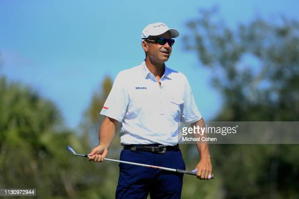 Rocco Mediate watches his tee shot during the first round of the Chubb Classic held at The Classics at Lely Resort on February 15 2019 in Naples...