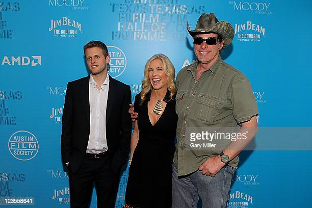 Rocco Nugent Shemane Nugent and musician Ted Nugent walk the red carpet during the Texas Film Hall of Fame Awards at Austin Studios on March 10 2011...