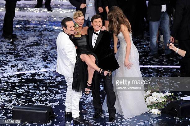 Rocco Papaleo Gianni Morandi Ivana Mrazova and Emma Marrone winner of the 62th Sanremo Song Festival at the Ariston Theatre on February 18 2012 in...