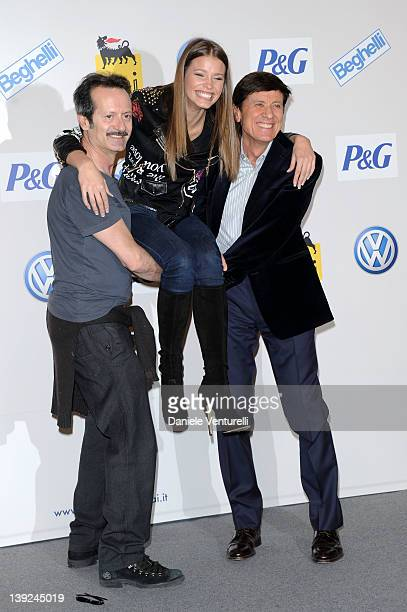 Rocco Papaleo Ivana Mrazova and Gianni Morandi attend a photocall during the day 5 of the 62th Sanremo Song Festival 2012 on February 18 2012 in...