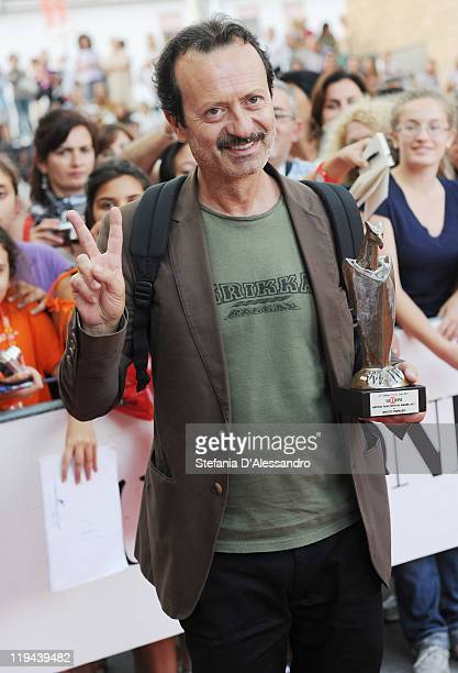 Rocco Papaleo poses with the 2011 Giffoni Experience Award on July 20 2011 in Giffoni Valle Piana Italy