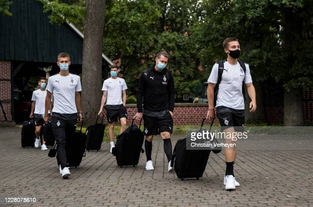 Rocco Reitz, Max Gruen, Torben Muesel, Jordi Bongard and Conor Noß of Borussia Moenchengladbach arrives at the Training Camp of Borussia...