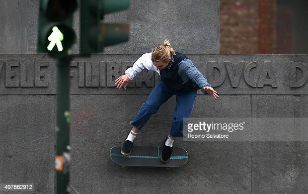 Rocco Ritchie plays on a skateboard on November 19 2015 in Turin Italy