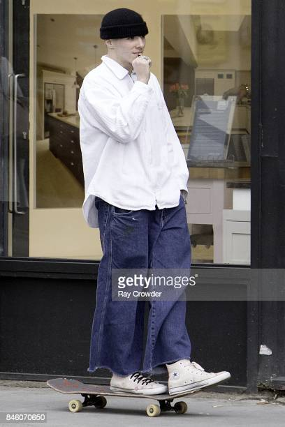 Rocco Ritchie seen skateboarding with friends in Belsize Park on September 12 2017 in London England