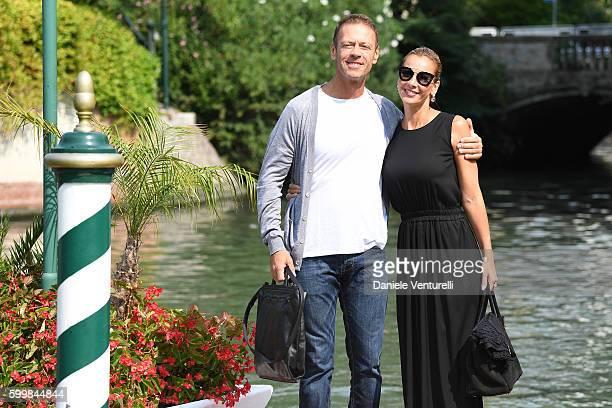 Rocco Siffredi and Rosa Caracciolo are seen during the 73rd Venice Film Festival on September 7, 2016 in Venice, Italy.