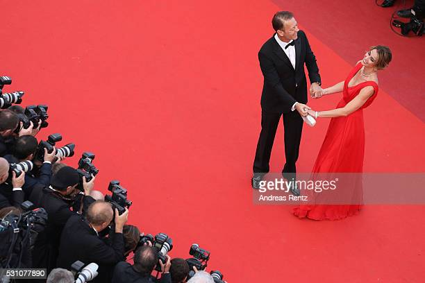 Rocco Siffredi and Rozsa Tassi attend the 'Money Monster' premiere during the 69th annual Cannes Film Festival at the Palais des Festivals on May 12,...