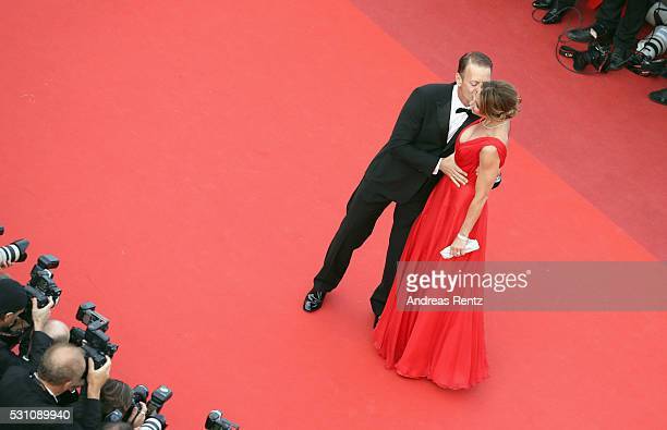 """Rocco Siffredi and Rozsa Tassi attend the """"Money Monster"""" premiere during the 69th annual Cannes Film Festival at the Palais des Festivals on May 12,..."""